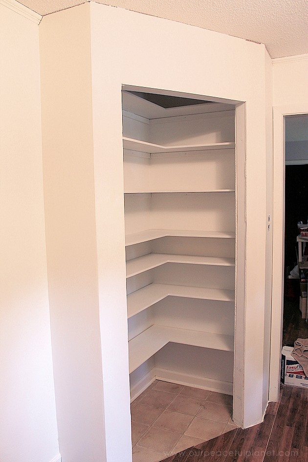 Add space and convenience to your small kitchen with this simple DIY pantry! It has floor to ceiling shelves, a door and it fits perfectly into a corner.