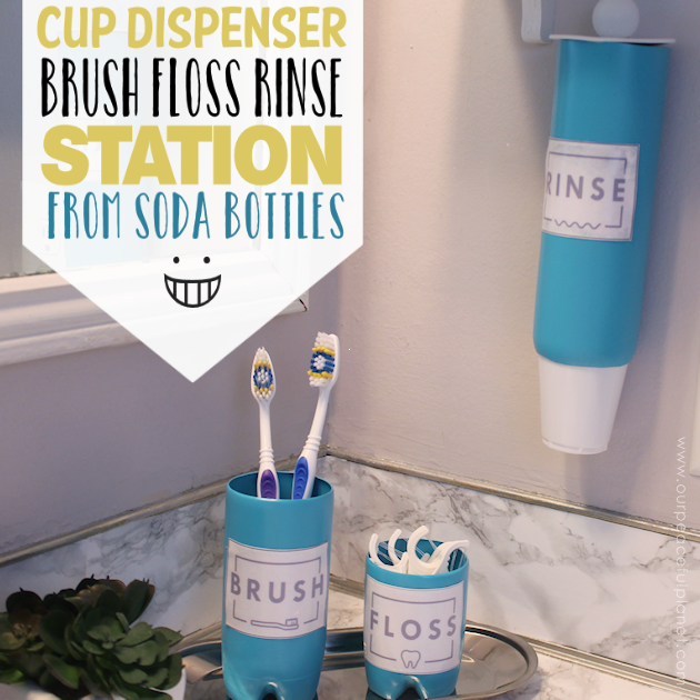 This matching bathroom set, complete with a cup dispenser, is made from three slim soda bottles. Paint them any color you like and use our free labels!