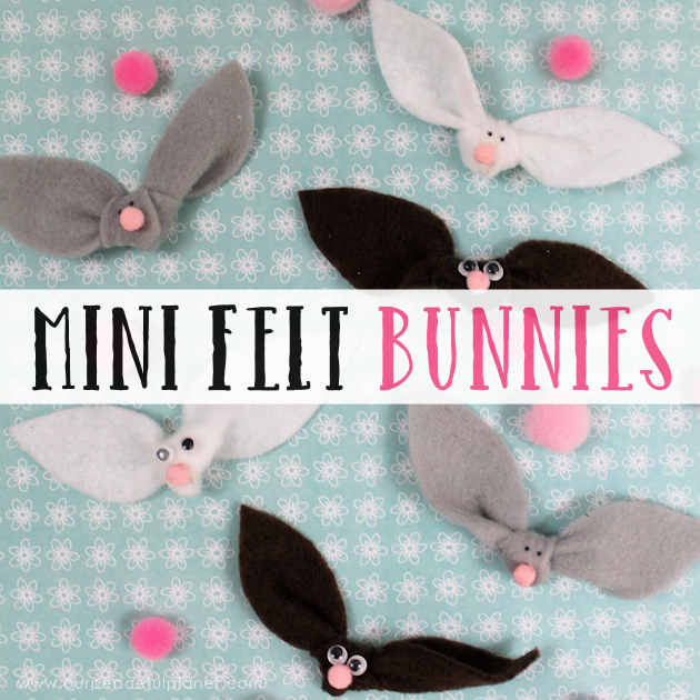 These cute little felt bunnies take a minute to make and can be used for a multitude of things for adults and kids alike from jewelry to decor.