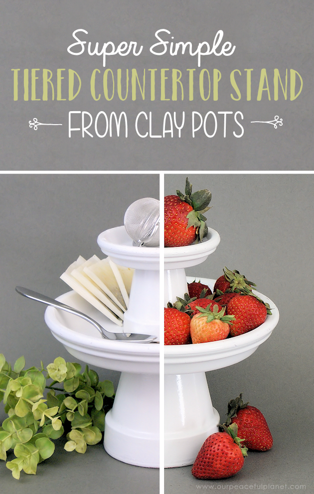This small DIY cake stand can hold so much more! Fruit, cookies, nuts, candy, tea bags etc. Made from clay pots it's simple and inexpensive to make.