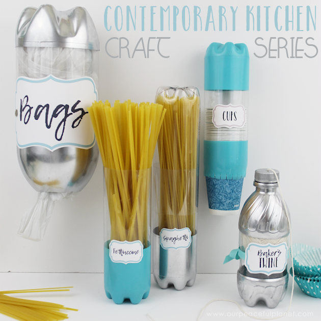 If you love crafting you'll love our contemporary kitchen craft series. It's a matching set of kitchen containers and dispensers upcycled from soda bottles!