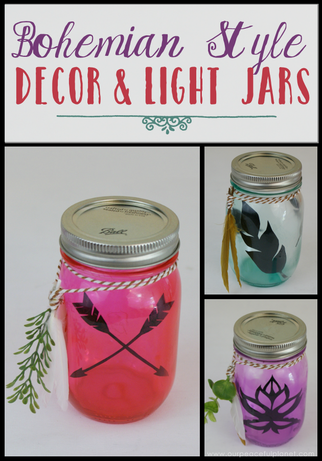 If you love Bohemian style, grab some mason jars and our free printables and make these colorful Boho lights for your home. They're perfect inside or out!