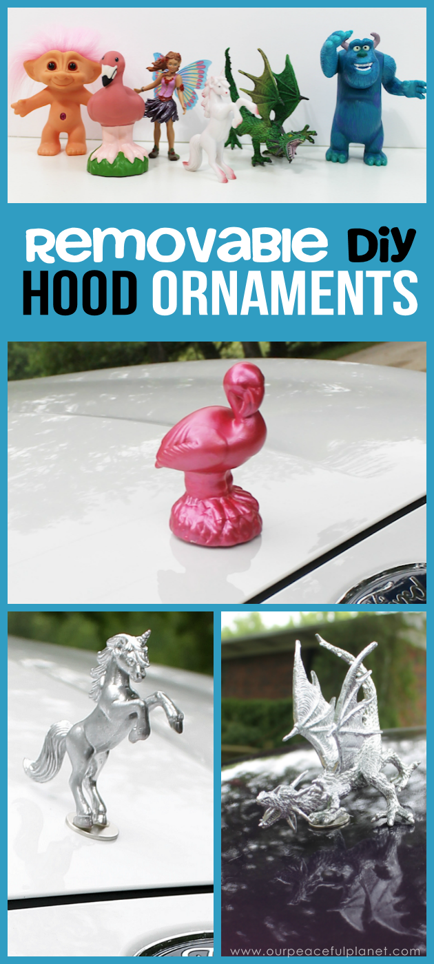 If you like girly car accessories you're gonna love these removable DIY hood ornaments made from small toys & other light weight objects. Make a whole set!