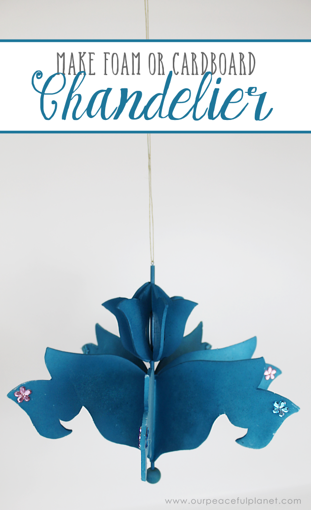 Add a little whimsy to any room with a cardboard chandelier! Grab our free pattern, some cardboard , a hot glue gun and paint. Add any bling you like!