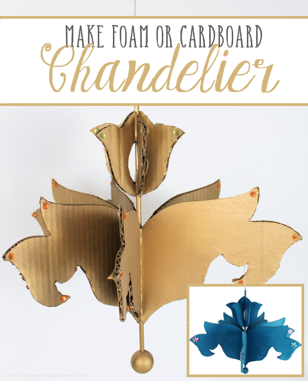 Foam Board or Cardboard Chandelier (Free Pattern) HOW TO: http://bit.ly/cardboardchandelier #chandelier #cardboardchandelier #diydecor #decor #ceilingdecor #kidsdecor #cardboardcrafts #foamboard