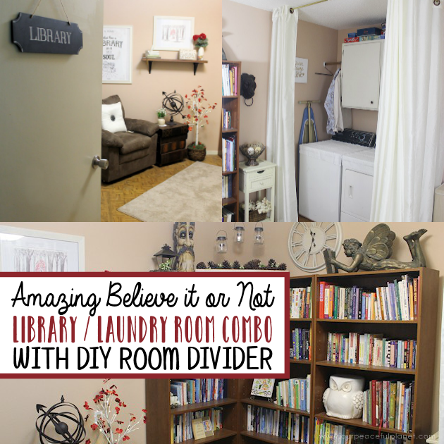 We made a simple room divider and turned a laundry room into a laundry slash home library that has a global feel and you won't believe how easy it was!