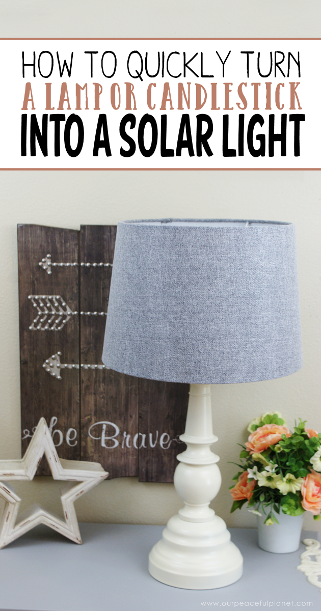 You can turn a candlestick or an old lamp into a solar lamp quick and easy by following these simple directions. It's a great way to save energy!