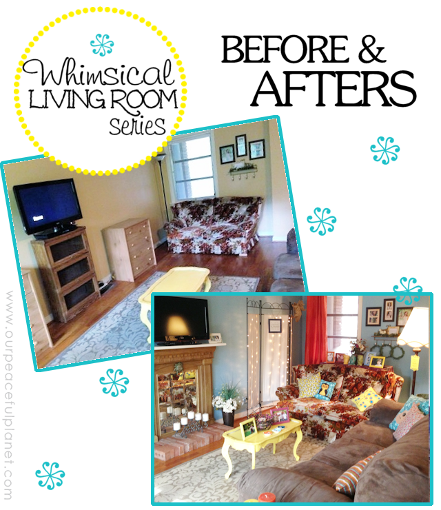 Whimsical Living Room BEFORE AND AFTERS
