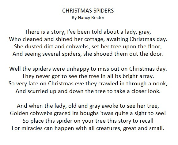 photograph regarding Legend of the Christmas Spider Printable identified as The Xmas Spider Do it yourself : Absolutely free Poem Printable
